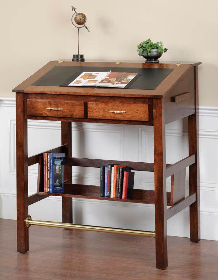 Rustic Cherry Wood Stand Up Desk
