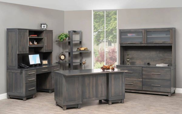Omega Gray Stained Executive Desk Countryside Amish