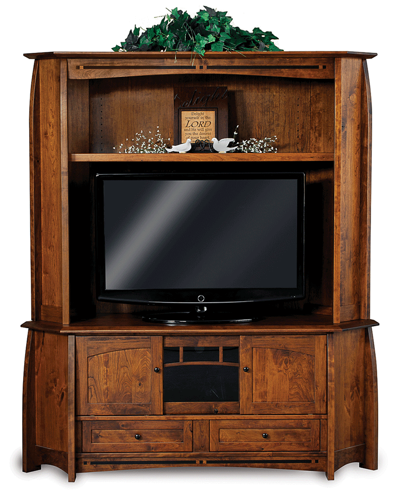 Coronado Corner Entertainment Center with Hutch - Countryside Amish Furniture