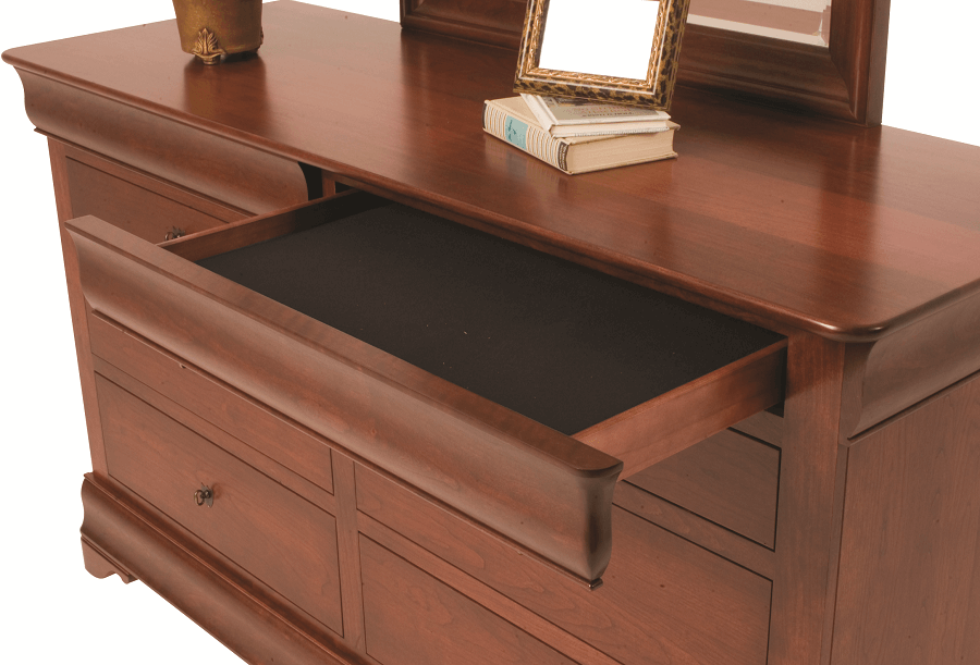 Includes felt-lined jewelry drawer hidden in trim