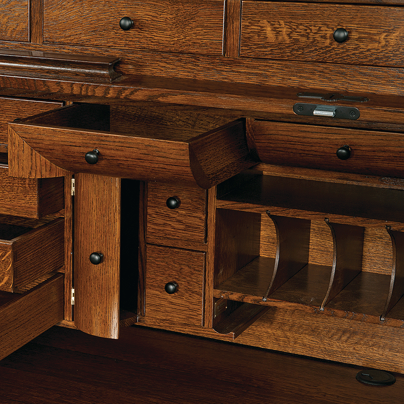 Opened drawers on Joshua's Craftsman Roll Top Desk